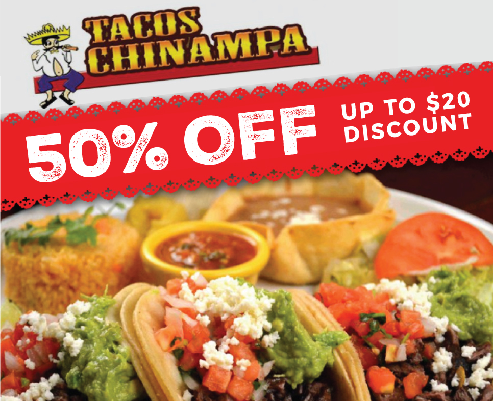 50% Off Total Purchase! at Tacos Chinampa