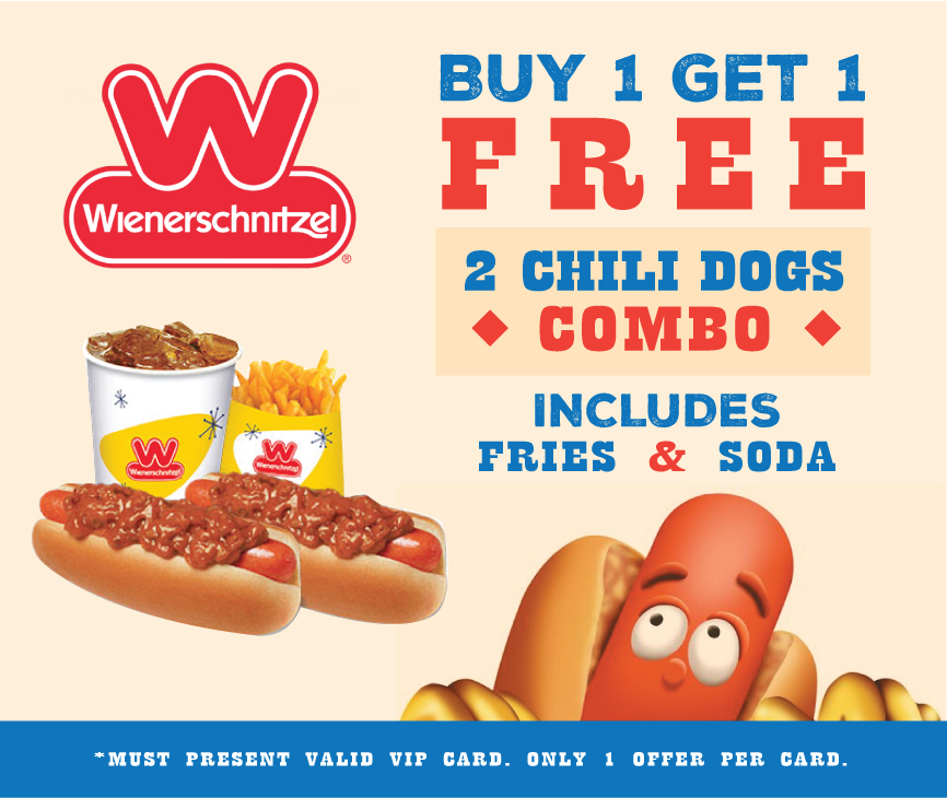 Buy 1 Get 1 Free 2 Chili Dogs Combo (includes fries & soda) at Wienerschnitzel