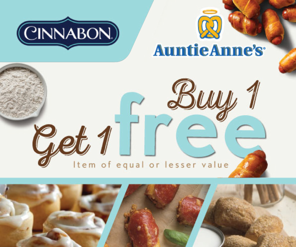 Buy 1 Get 1 Free item of equal or lesser value at Cinnabon
